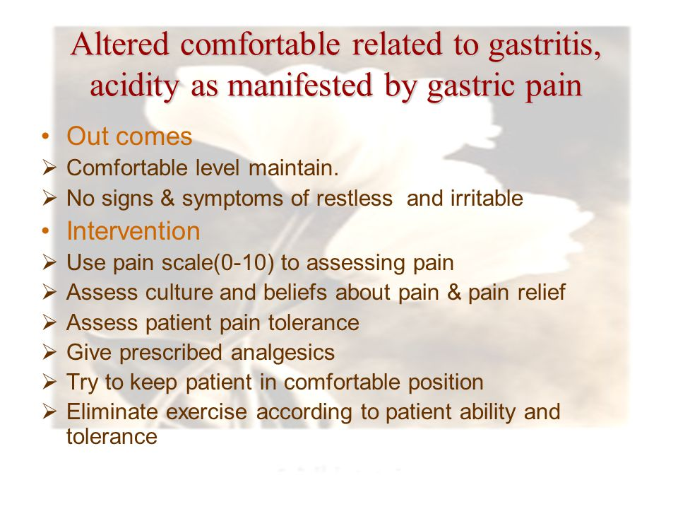 Altered comfortable related to gastritis, acidity as manifested by gastric pain