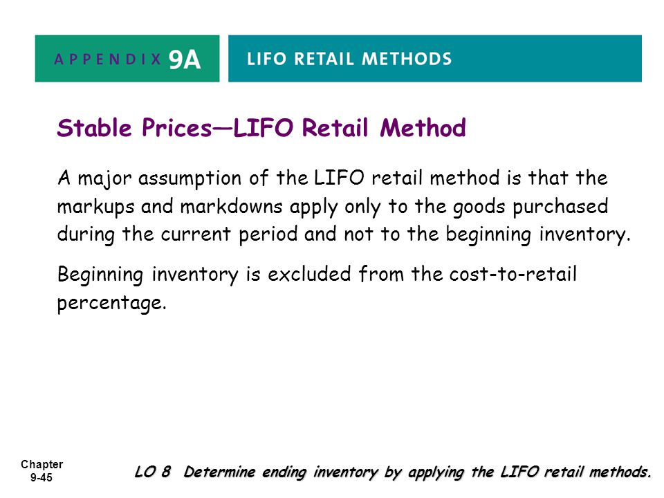 Stable Prices—LIFO Retail Method
