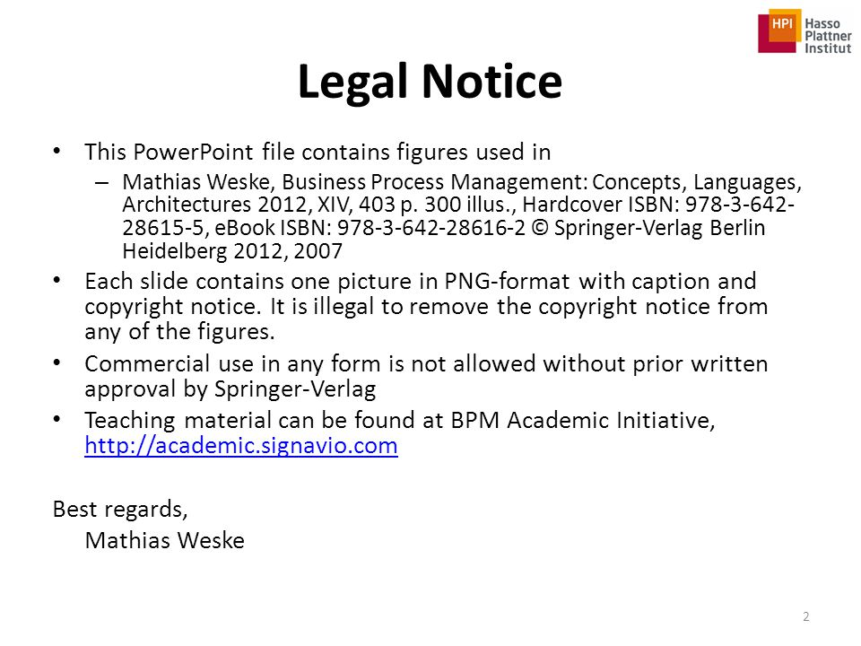 Legal Notice This PowerPoint file contains figures used in
