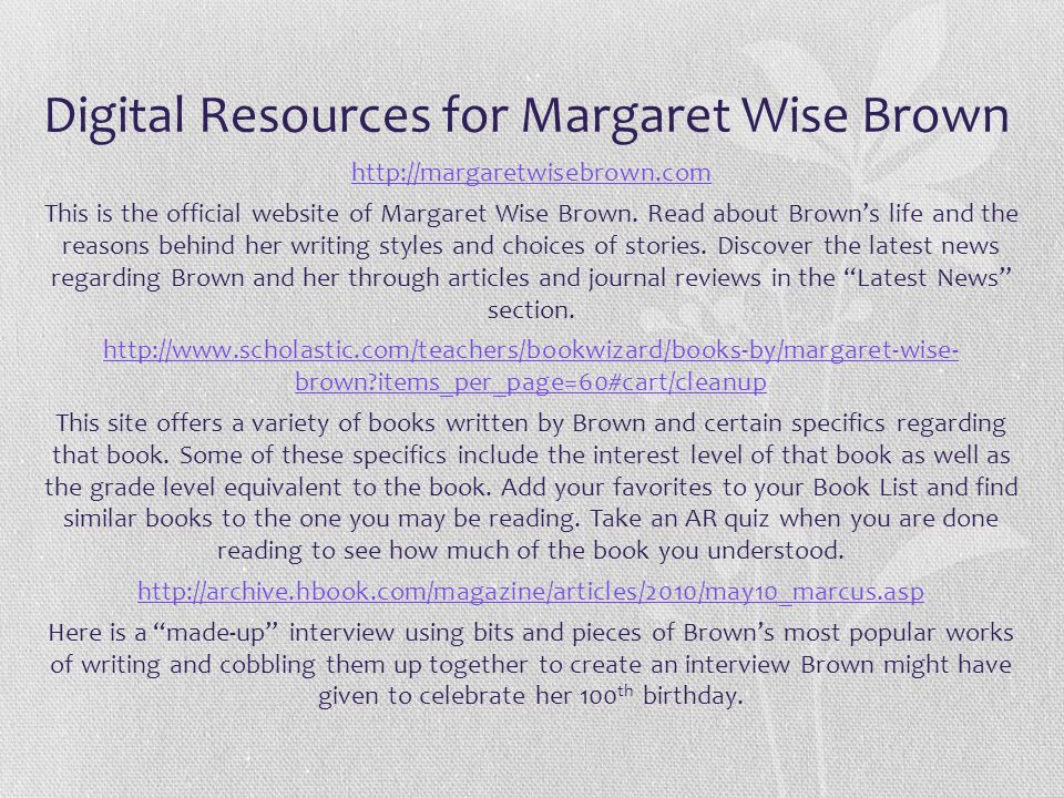 Digital Resources for Margaret Wise Brown