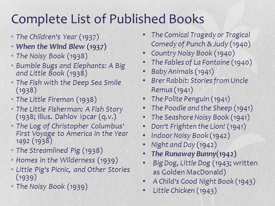 Complete List of Published Books