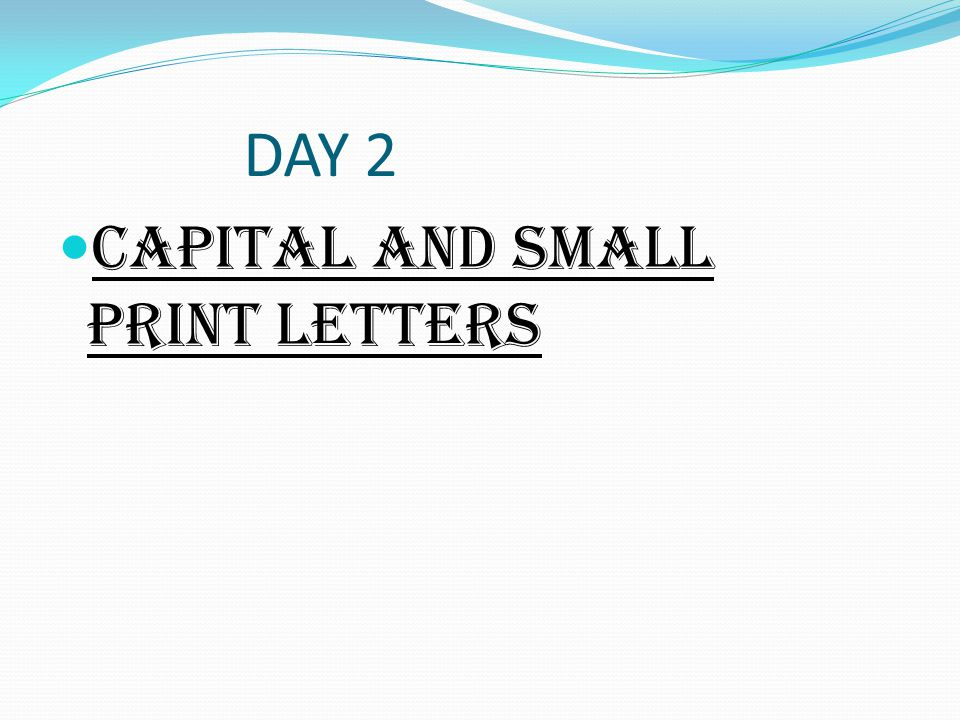 DAY 2 CAPITAL AND SMALL PRINT LETTERS