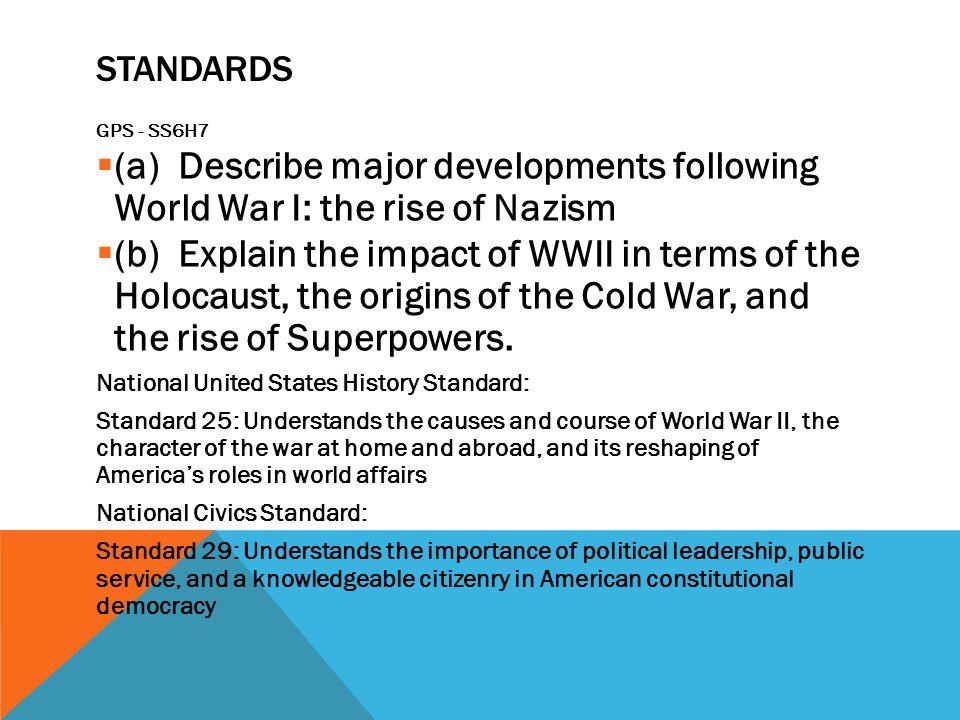 Standards GPS - SS6H7. (a) Describe major developments following World War I: the rise of Nazism.