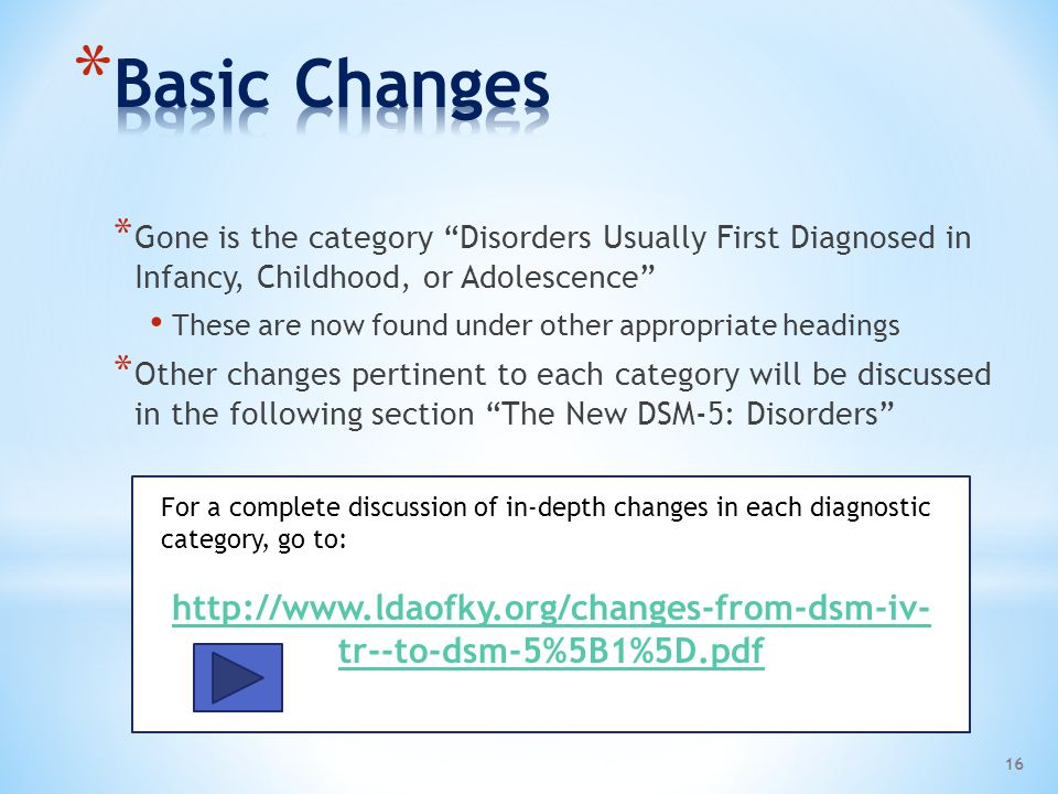 Basic Changes Gone is the category Disorders Usually First Diagnosed in Infancy, Childhood, or Adolescence