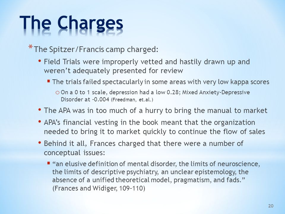 The Charges The Spitzer/Francis camp charged:
