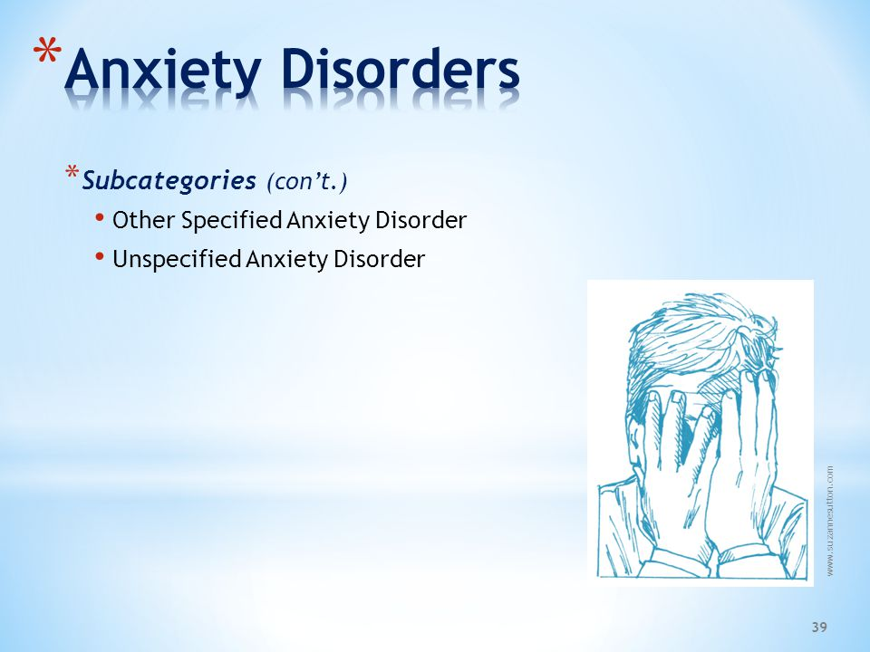 Anxiety Disorders Subcategories (con't.)