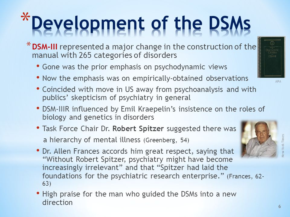 Development of the DSMs