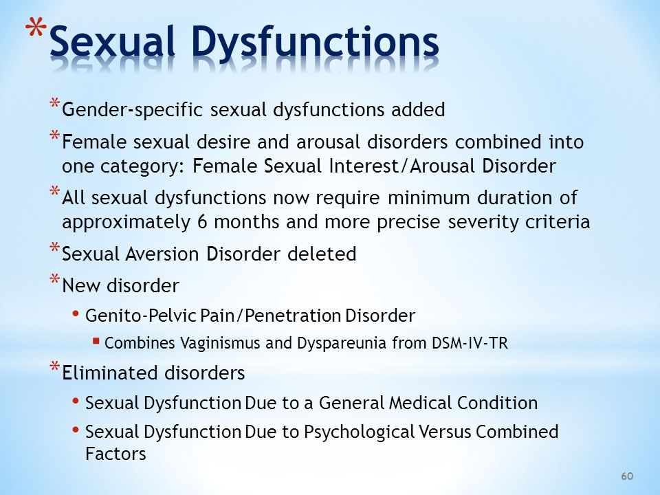Sexual Dysfunctions Gender-specific sexual dysfunctions added