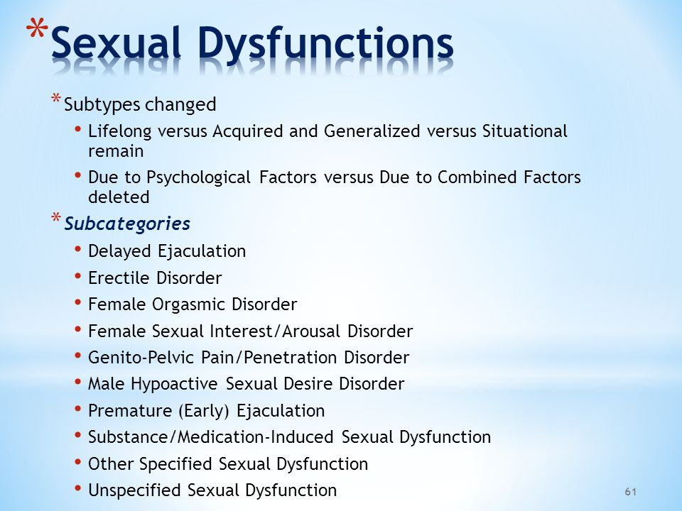 Sexual Dysfunctions Subtypes changed Subcategories