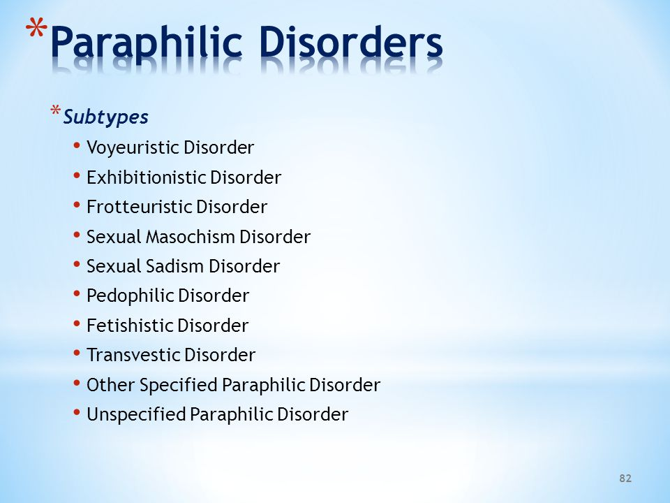 Paraphilic Disorders Subtypes Voyeuristic Disorder