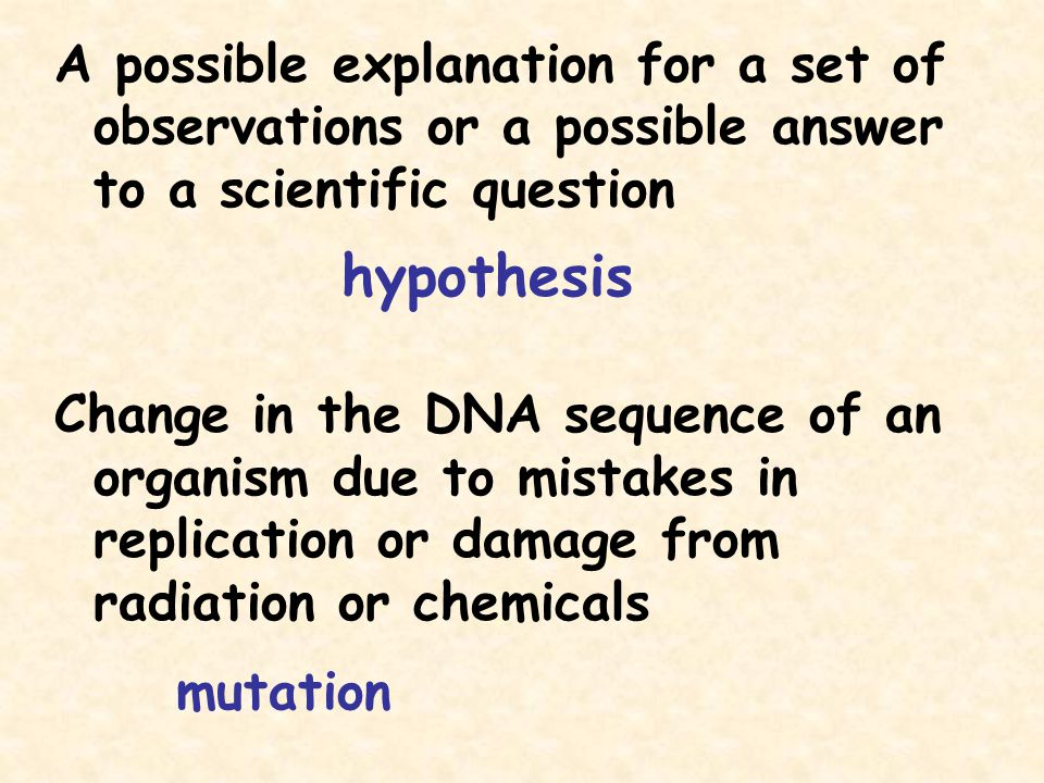 A possible explanation for a set of observations or a possible answer to a scientific question