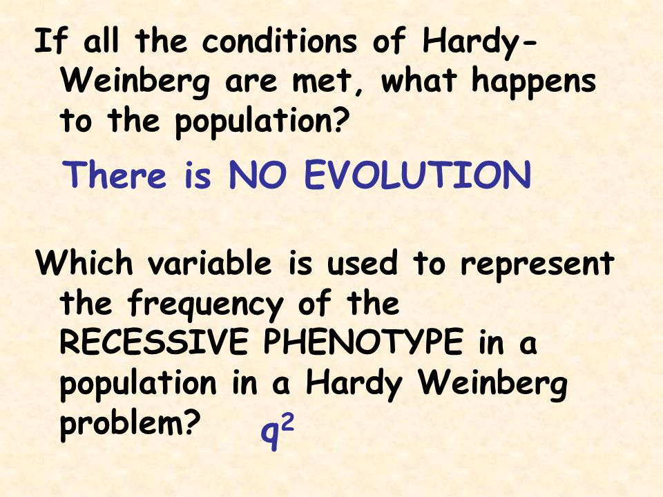 If all the conditions of Hardy-Weinberg are met, what happens to the population