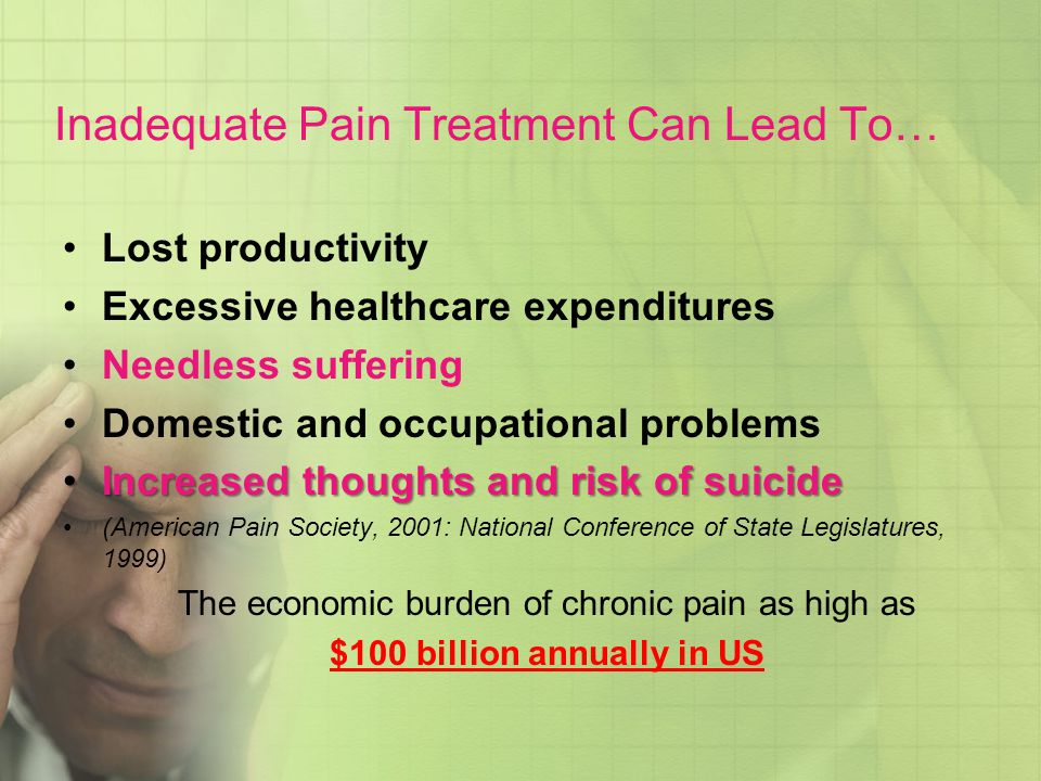Inadequate Pain Treatment Can Lead To…