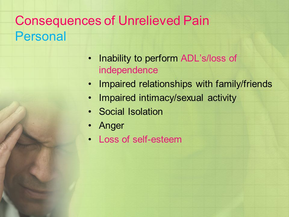 Consequences of Unrelieved Pain Personal