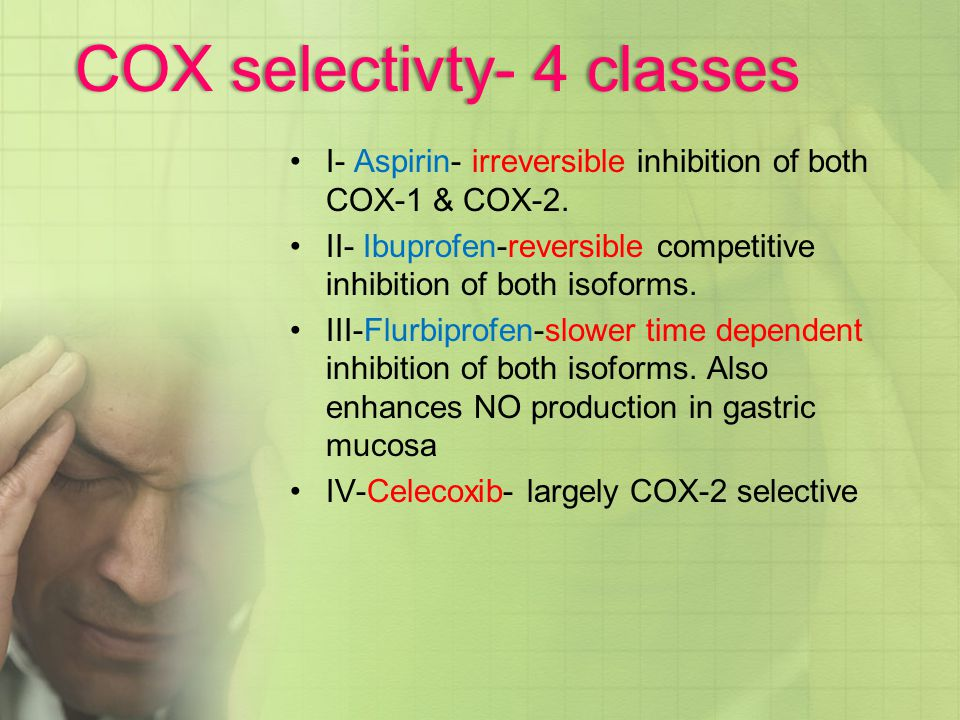 COX selectivty- 4 classes