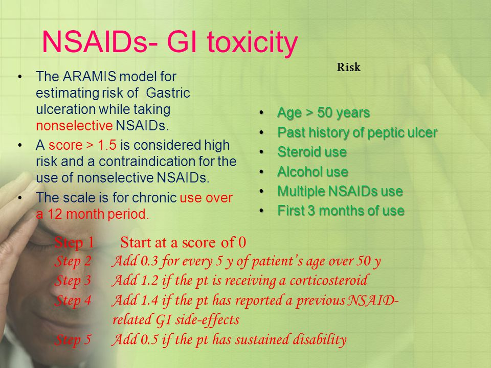 NSAIDs- GI toxicity Risk. The ARAMIS model for estimating risk of Gastric ulceration while taking nonselective NSAIDs.