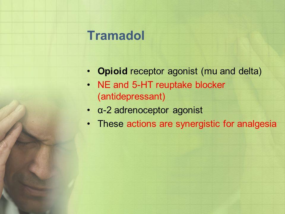 Tramadol Opioid receptor agonist (mu and delta)