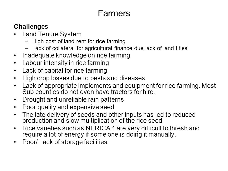 Farmers Challenges Land Tenure System