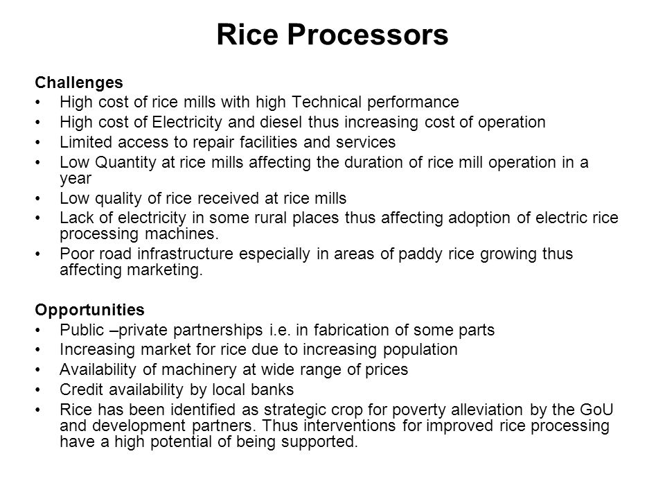 Rice Processors Challenges