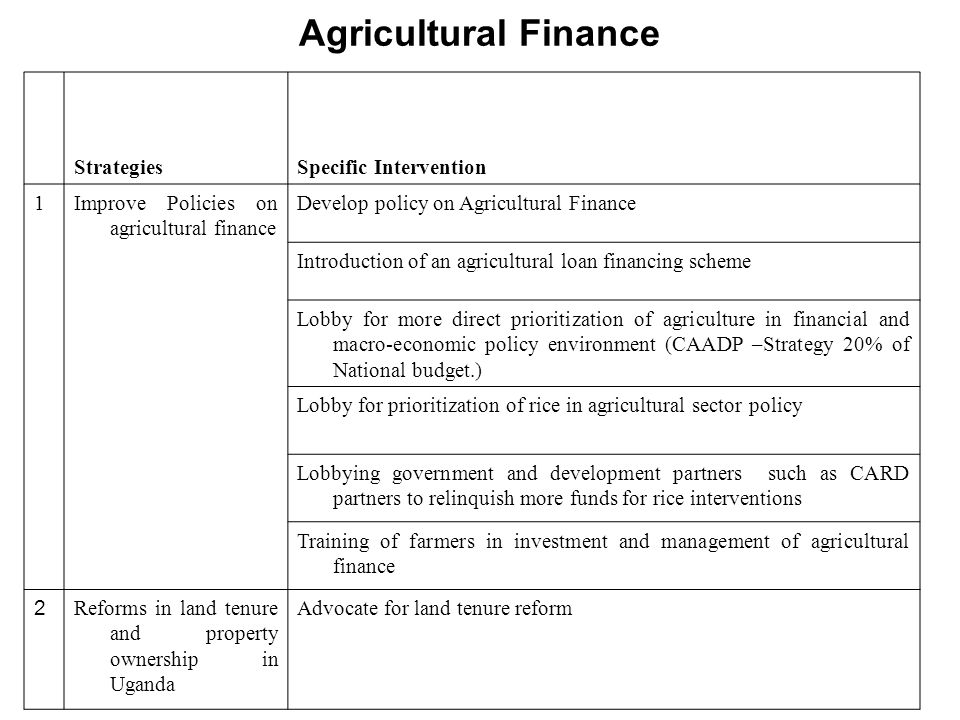 Agricultural Finance Strategies Specific Intervention 1