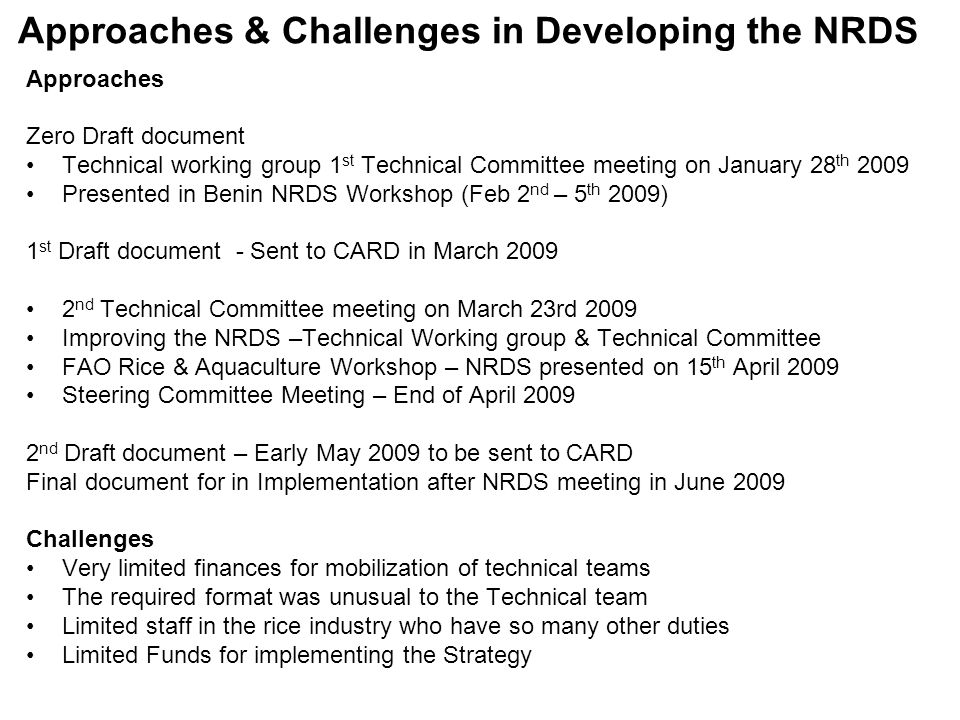 Approaches & Challenges in Developing the NRDS