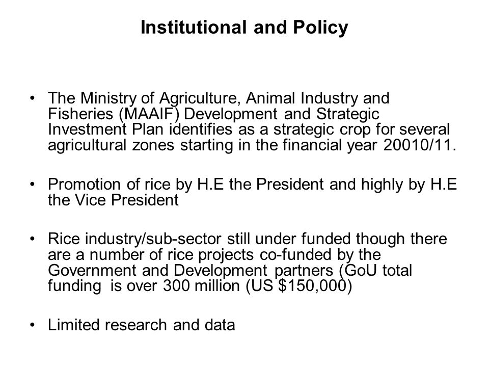 Institutional and Policy