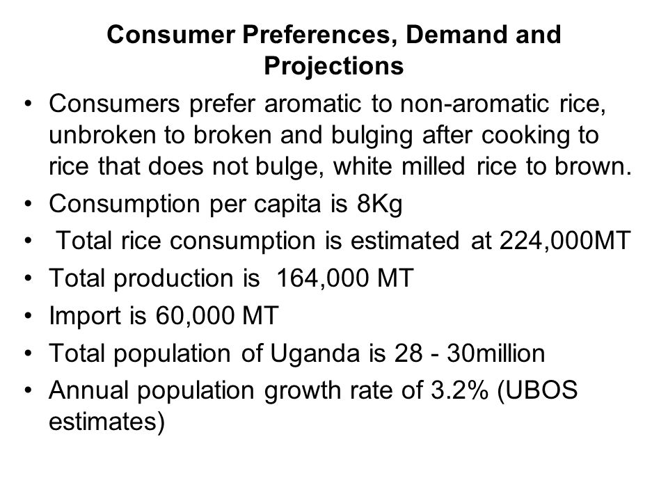 Consumer Preferences, Demand and Projections