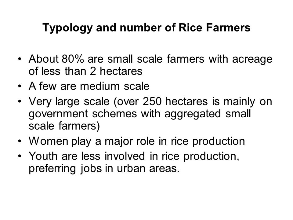 Typology and number of Rice Farmers
