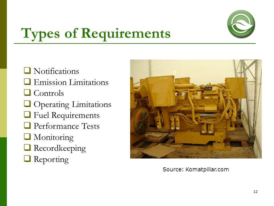 Types of Requirements Notifications Emission Limitations Controls