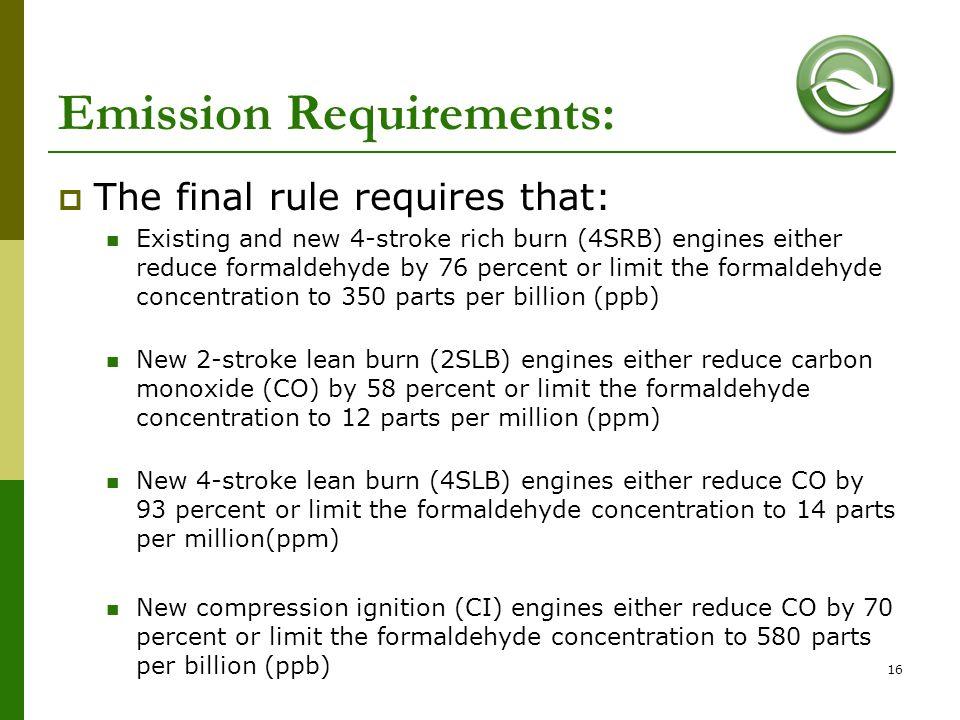 Emission Requirements: