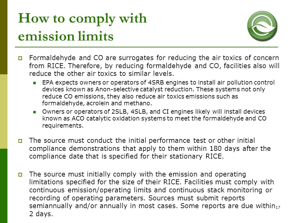 How to comply with emission limits