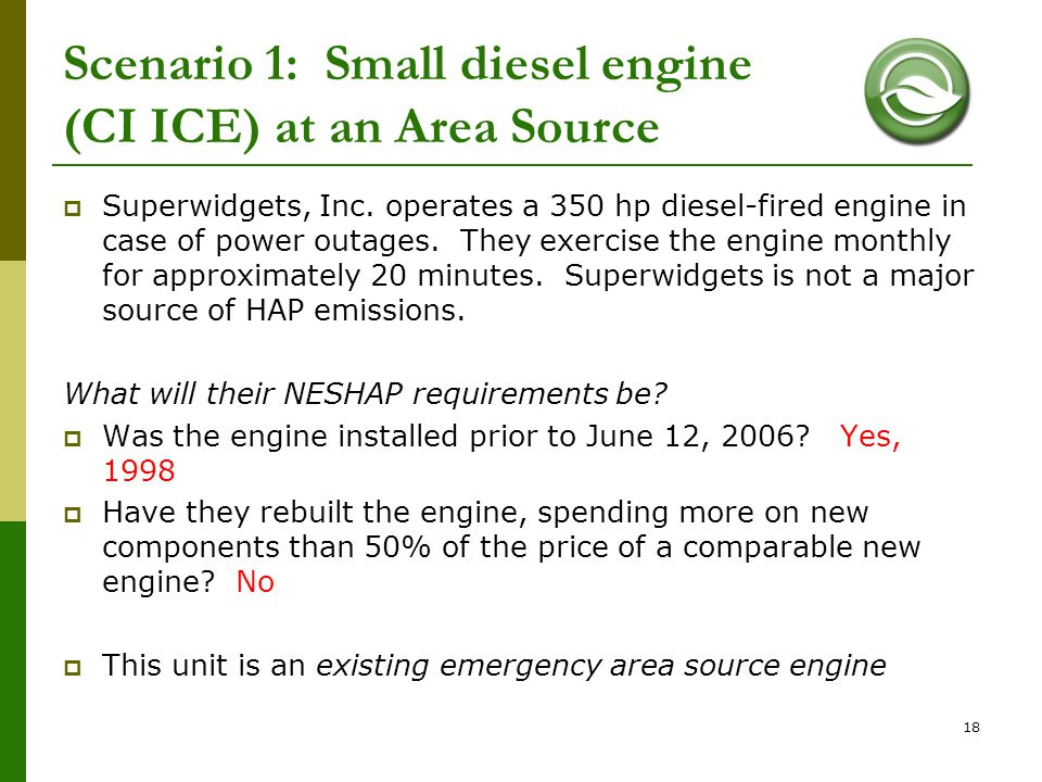 Scenario 1: Small diesel engine (CI ICE) at an Area Source