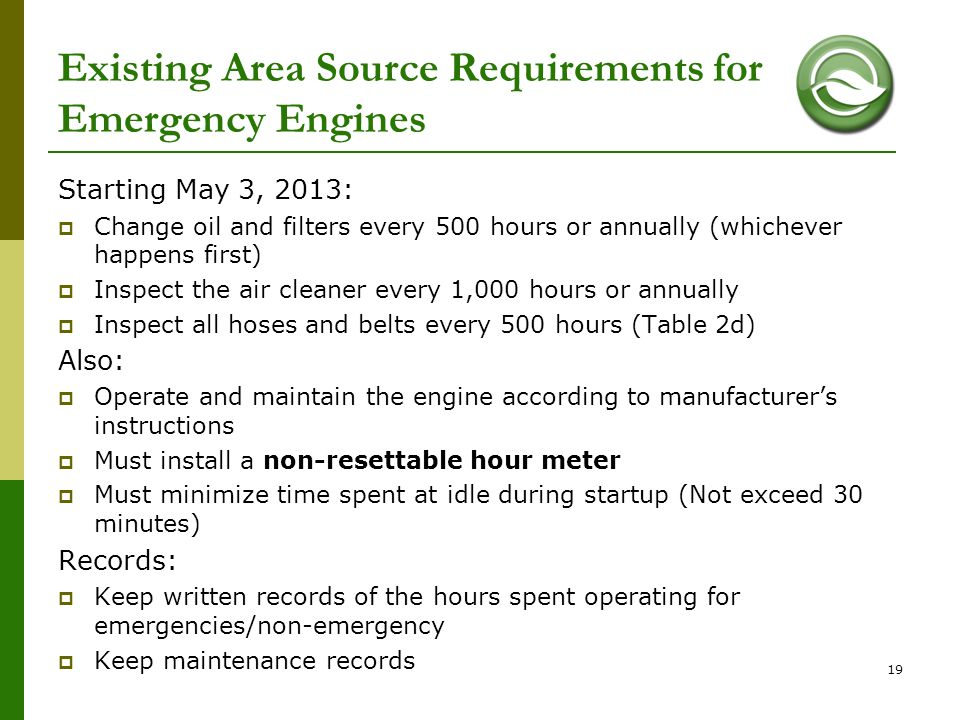 Existing Area Source Requirements for Emergency Engines