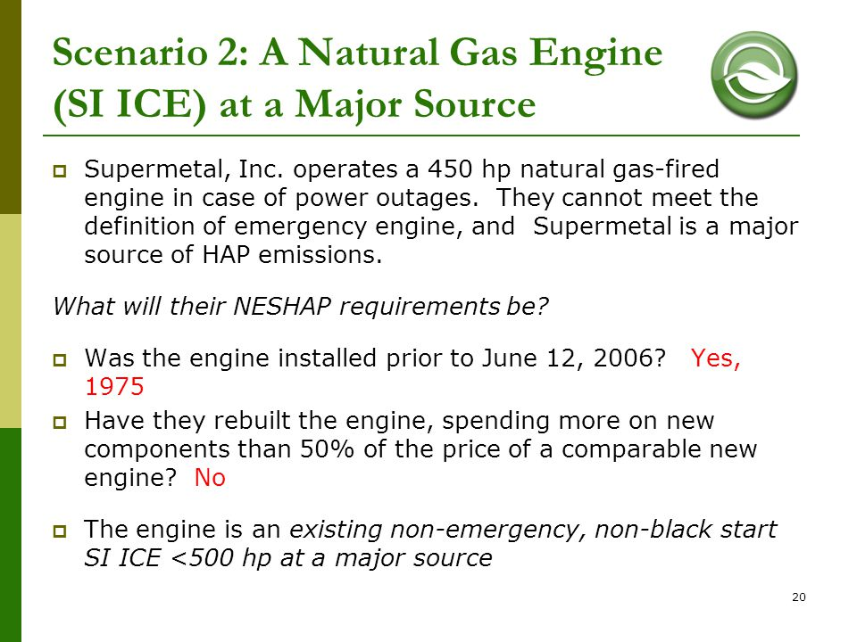 Scenario 2: A Natural Gas Engine (SI ICE) at a Major Source