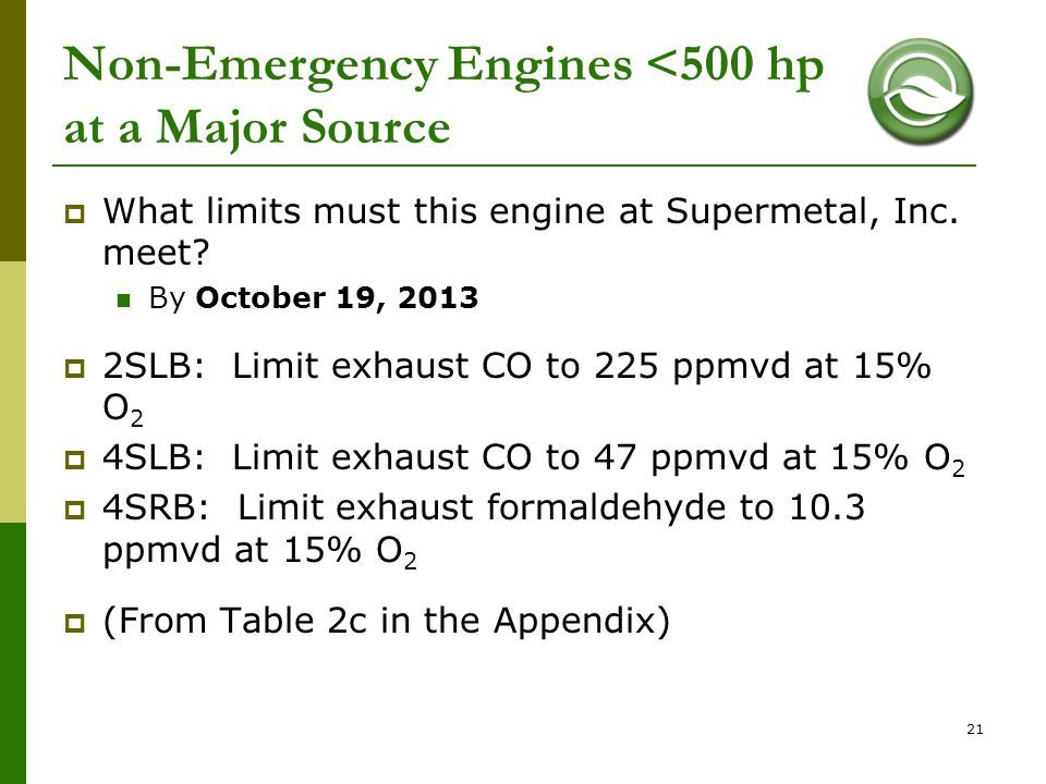 Non-Emergency Engines <500 hp at a Major Source