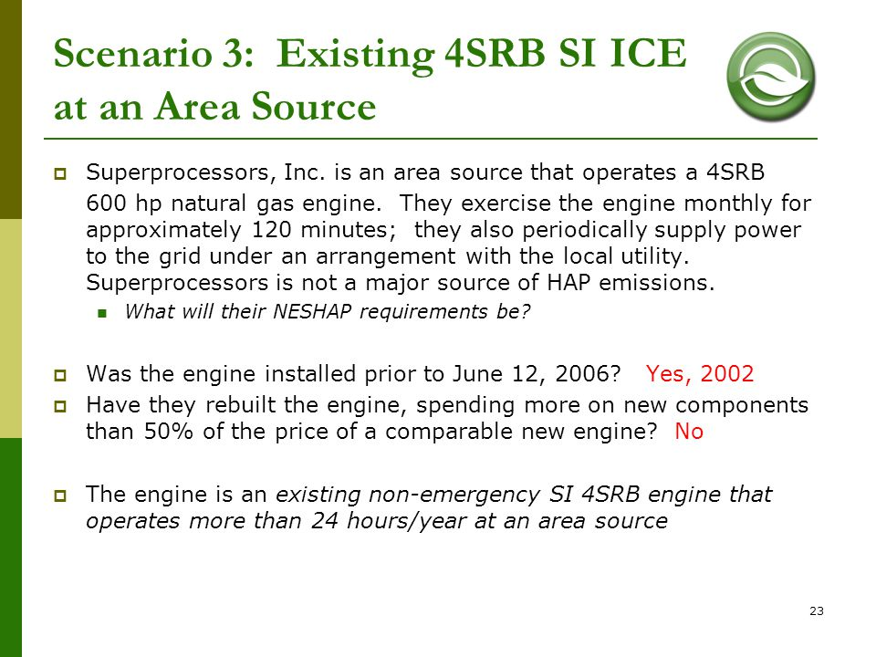 Scenario 3: Existing 4SRB SI ICE at an Area Source