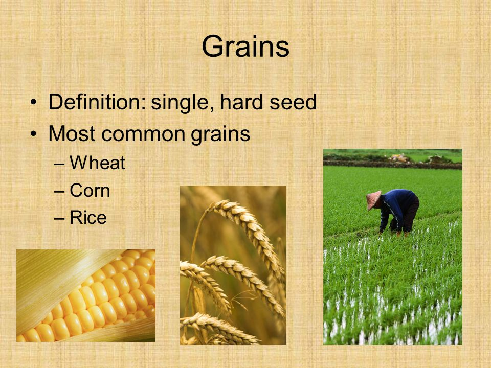Grains Definition: single, hard seed Most common grains Wheat Corn