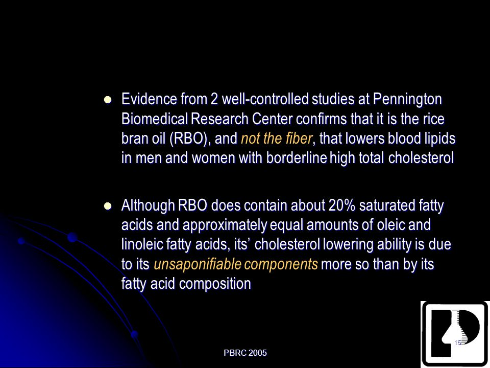 Evidence from 2 well-controlled studies at Pennington Biomedical Research Center confirms that it is the rice bran oil (RBO), and not the fiber, that lowers blood lipids in men and women with borderline high total cholesterol