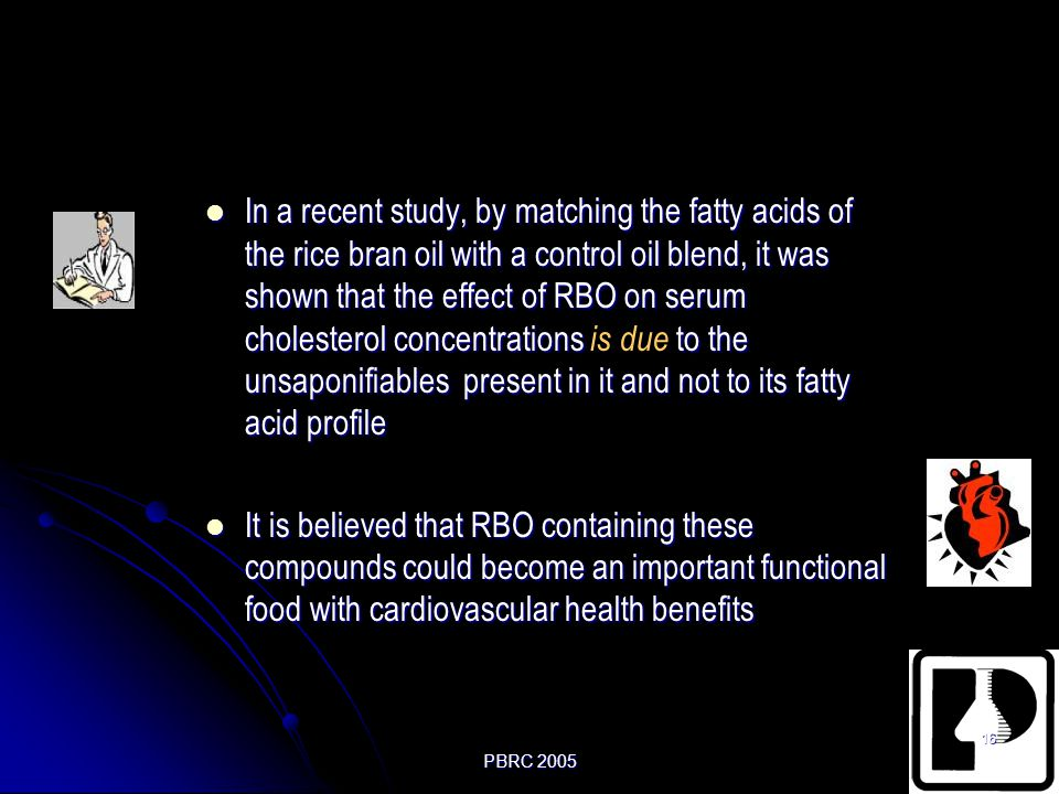 In a recent study, by matching the fatty acids of the rice bran oil with a control oil blend, it was shown that the effect of RBO on serum cholesterol concentrations is due to the unsaponifiables present in it and not to its fatty acid profile
