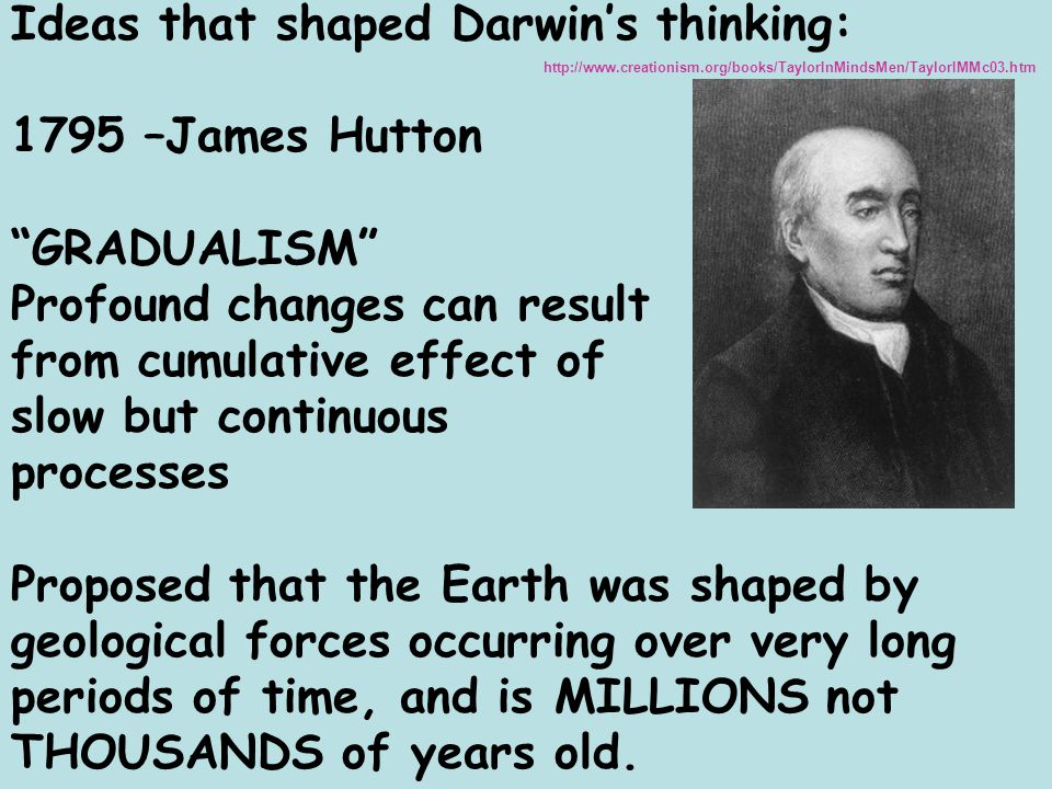 Ideas that shaped Darwin's thinking: 1795 –James Hutton GRADUALISM