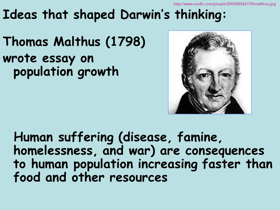 Ideas that shaped Darwin's thinking: Thomas Malthus (1798)
