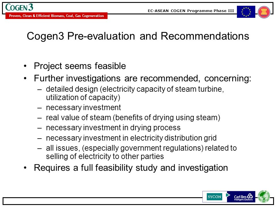 Cogen3 Pre-evaluation and Recommendations