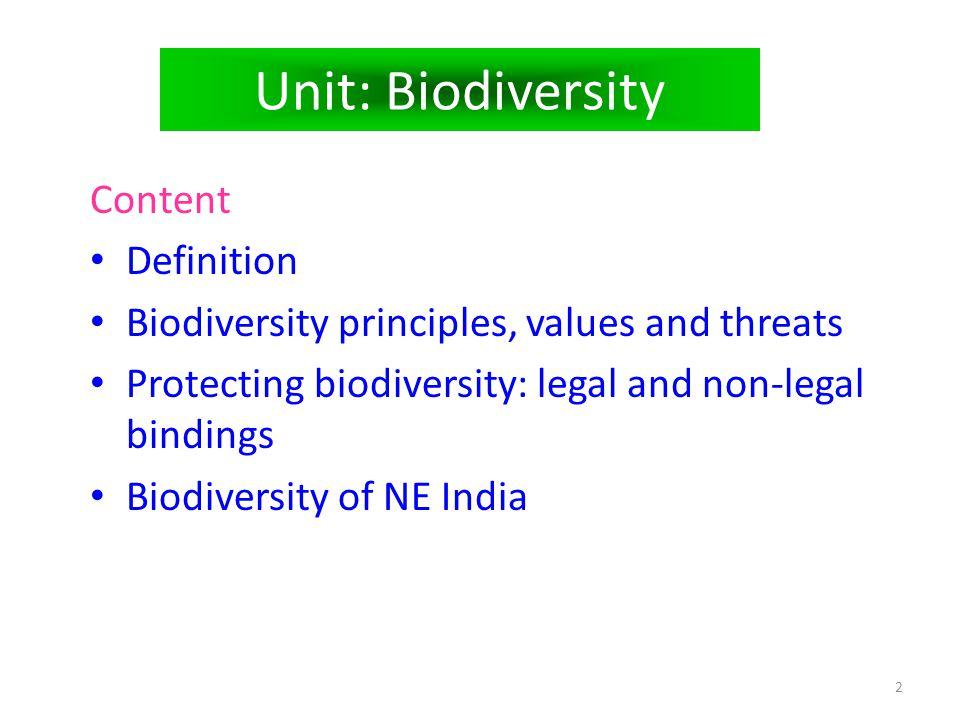 Unit: Biodiversity Content Definition