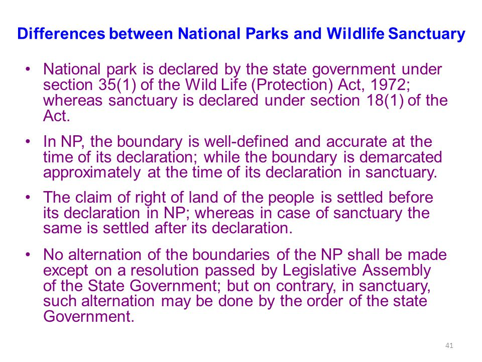 Differences between National Parks and Wildlife Sanctuary