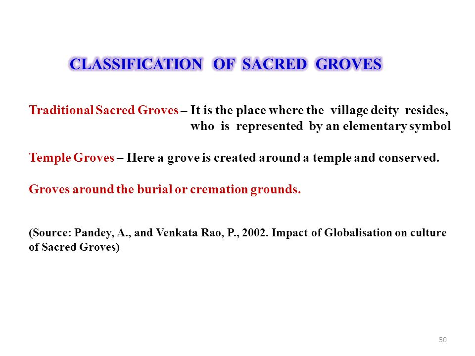 CLASSIFICATION OF SACRED GROVES
