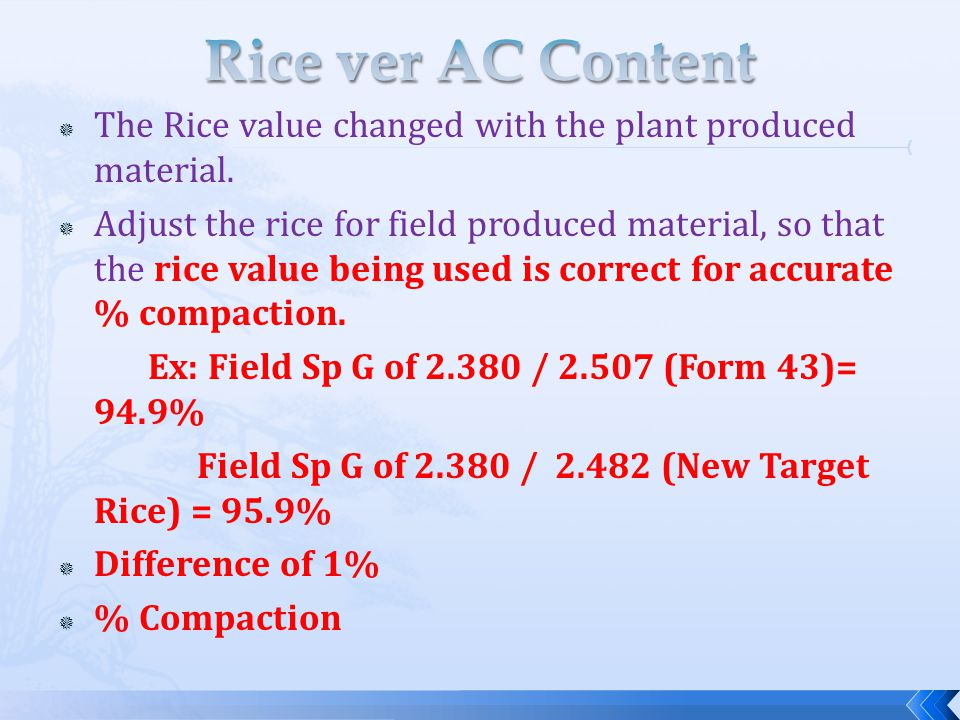Rice ver AC Content The Rice value changed with the plant produced material.