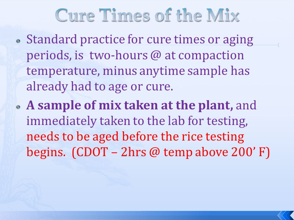 Cure Times of the Mix