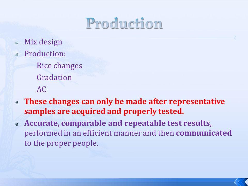 Production Mix design Production: Rice changes Gradation AC