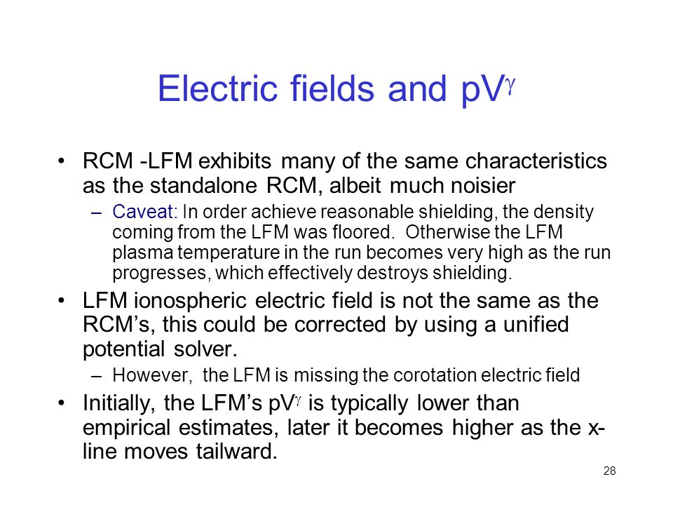 Electric fields and pVg