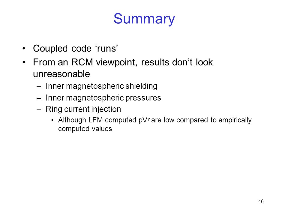 Summary Coupled code 'runs'